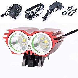 XMH Faro de Bicicleta, Luz Bicicleta Delantera Led Foco Luces Bicicleta 2 led 5000 LM Impermeable 4 Modos con luz Trasera para Alpinismo, Ciclismo, Camping (2 led Red)