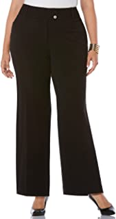 Rafaella Women's Plus-Size Curvy Fit Gaberdine Boot Leg Trouser, Black, 22