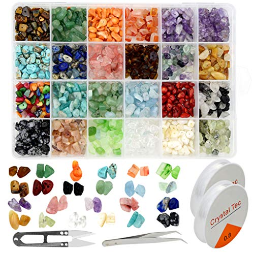 Poualss 24 Stone Beads Natural Irregular Chips Beads Gemstone Stones Beads Crystal Pieces Loose for Jewelry Making DIY Crafts