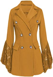 Women's Fashion Slim Lace Sleeve Double Breasted Trench Coat Overcoat