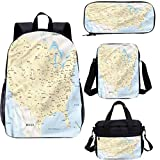 Mapa 17 'Kids School Bookbags Set,America Cities Interstate Bookbags 4 en 1