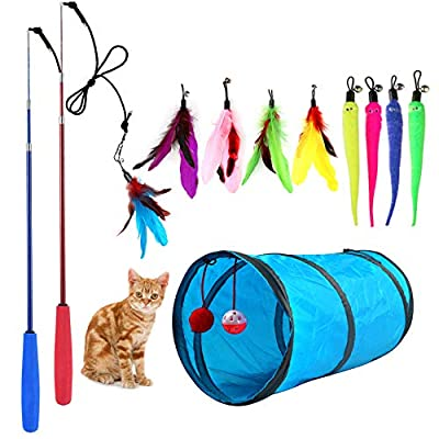 M JJYPET Retractable Cat Toy Wand, 12 Packs Interactive Cat Feather Toys, 9 Assorted Teaser Refills with Bell for Cat Kitten (Blue)