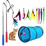 M JJYPET Retractable Cat Toy Wand, 12 Packs Interactive Cat Feather Toys, 9 Assorted Teaser Refills...