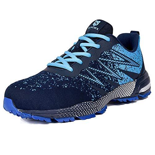 SUADEEX Sicherheitsschuhe Herren Arbeitsschuhe Leicht Atmungsaktiv Sportlich Reflektierende Schutzschuhe mit Stahlkappen Schuhe,Blau,43 EU
