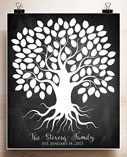 Personalized Family Tree Chalkboard Wedding Guest Book Alternative Poster Anniversary Gift for Parents Custom Art Print up to 100 People 20x24 Canvas or Paper