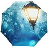 Hallo willkommen Winter licht Schnee straße Auto schließen regenschirme Anti uv Falten kompakte automatische Regenschirm