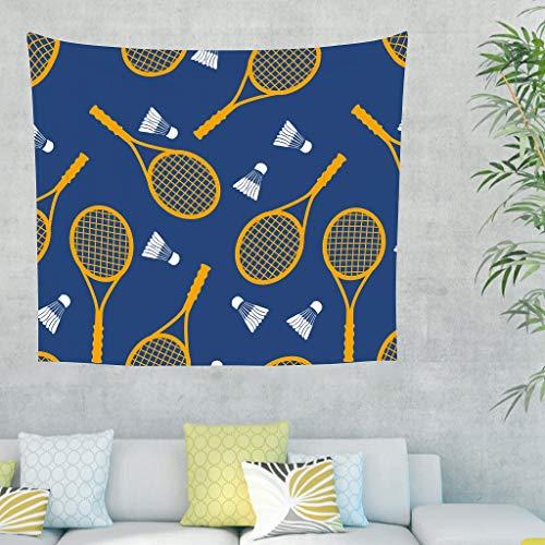 Niersensea Tapiz de pared para colgar en la pared, deportivo, bádminton azul marino, manta de picnic, esterilla de yoga, funda para sofá, dormitorio, manta blanca, 150 x 150 cm
