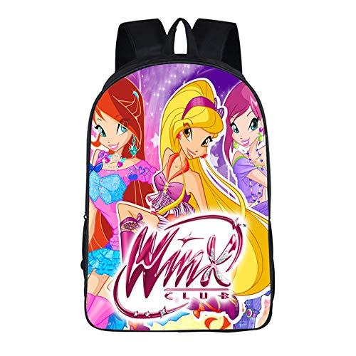 Winx Club Federmäppchen Printed Daypack Kinder-Rucksack Wasserdicht Schulranzen for Jungen und Mädchen Unisex (Color : A01, Size : 42 X 29 X 16cm)