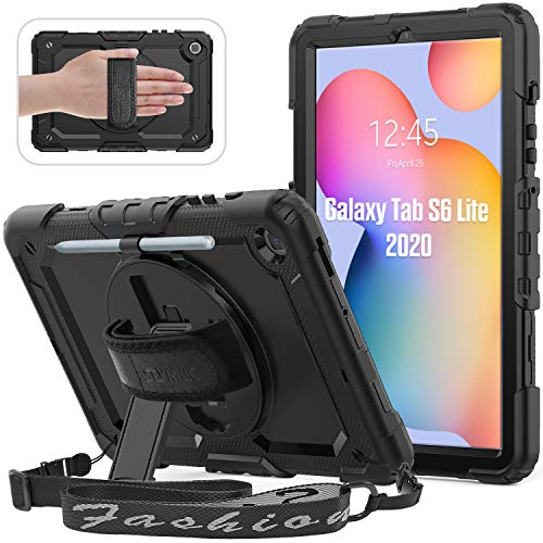 SEYMAC Case for Samsung Galaxy Tab S6 Lite 10.4 Inch 2020 Released, Shockproof Rugged Case with 360 Rotating Stand/Hand Strap,[Shoulder Strap&Built-in Screen Protector] for Galaxy Tab S6 Lite, Black
