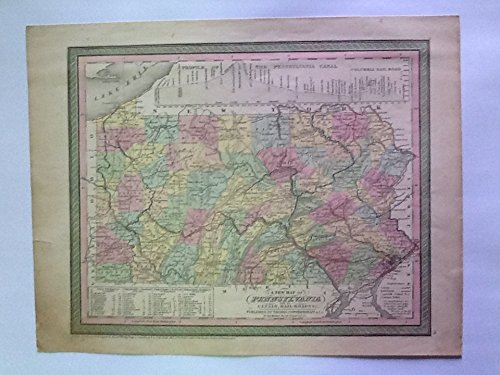 ORIGINAL ANTIQUE 1850 A New Map of Pennsylvania with its Canals, Rail-roads