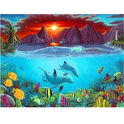 ATggqr Jigsaw Puzzle 1000 pcs 50x75cm Ocean dolphin Entertainment DIY Toys for Creative Gift Brain Challenge Puzzle for Children Kids Teenagers