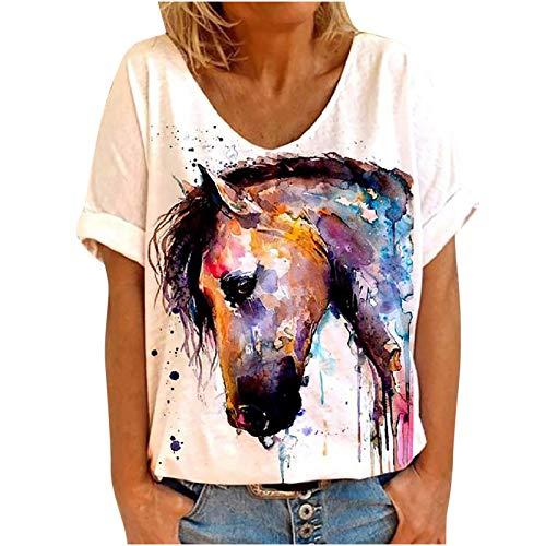 Masrin Steed Print T-Shirt Frauen Sommer Pferd Motiv Tops Tie-Dye Motiv Pullover Kurzarm V-Ausschnitt Tunika Blusen (M,Orange)