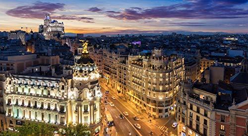 Rompecabezas Rompecabezas 1000 Piezas Puzzles El Skyline De Madrid España De Noche Donde Se Encuentran La Gran Vía Y La Calle Alcalá Puzzle DIY Art