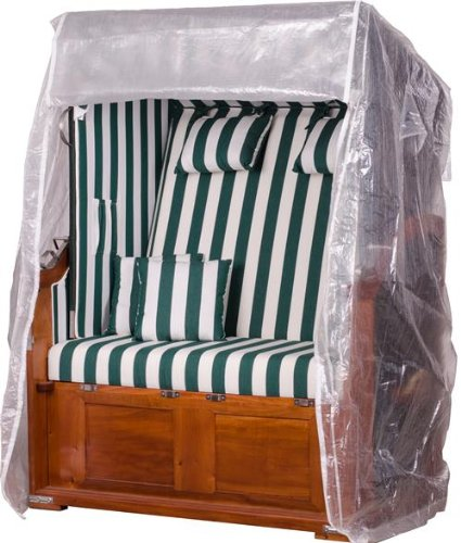 Mr. Deko Transparente Strandkorbabdeckung aus PVC - 123 x 173 x 90 cm/ Größe L - Schutzhülle für Strandkorb - wasserdicht & wetterfest -...