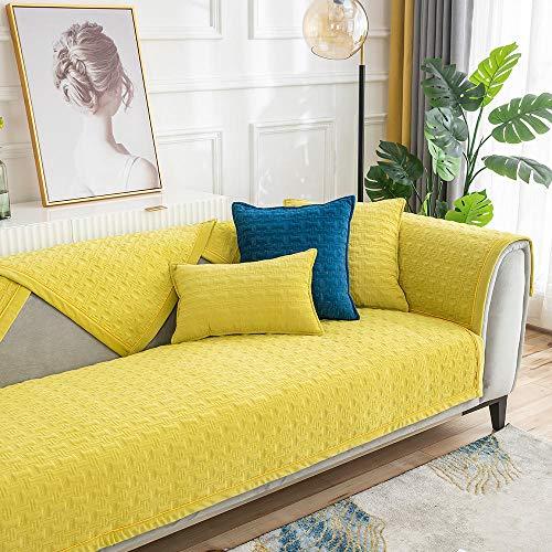 Suuki Couch Auflage Sofa schonbezug sofabezug Decken für Couch,Einfarbige superweiche Sofakissenbezüge,weiche Sofabezug,rutschfeste Sofaschutzhandtuch für Arbeitszimmer/Schlafzimmer/Lounge-Gelb_7