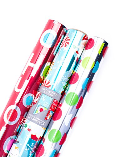 Hallmark Christmas Reversible Wrapping Paper Bundle -...