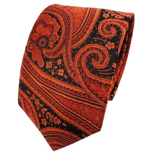 TigerTie Seidenkrawatte kupferbraun orange anthrazit schwarz parsley Muster - Krawatte 100% Seide