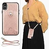 """DEFBSC - Custodia a portafoglio per iPhone XR da 6,1"""", in pelle di alta qualità, con tracolla regolabile staccabile e scomparti per carte di credito, per iPhone XR da 6,1"""", colore: oro rosa"""