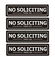 No Soliciting サイン 家のドア用 自己粘着メタルサイン ホームオフィスビジネス壁用 耐候性アルミ製看板 (4枚セット) ブラック 7x2インチ