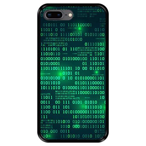 Hapdey Funda Negra para [ iPhone 7 Plus - 8 Plus ] diseño [ Matriz Digital ] Carcasa Silicona Flexible TPU