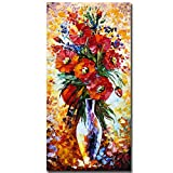 Boieesen Art,24x48inch Textured Hand Painted Red Flowers in Vase Oil Paintings Framed Abstract Blooming Flower Still Life Artwork Colorful Floral Canvas Paintings for Living Room Office