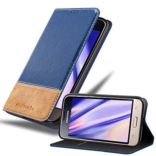 Cadorabo Hülle für Samsung Galaxy J1 2016 in DUNKEL BLAU BRAUN – Handyhülle mit Magnetverschluss, Standfunktion & Kartenfach – Hülle Cover Schutzhülle Etui Tasche Book Klapp Style