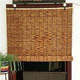LYBC Bambusraffrollo für Terrassen Balkone Pavillon,Natürliche Bambus Raffrollos(anpassbar),Sichtschutz Rollo für Fenster und Türen,Schattierungsrate: 60%