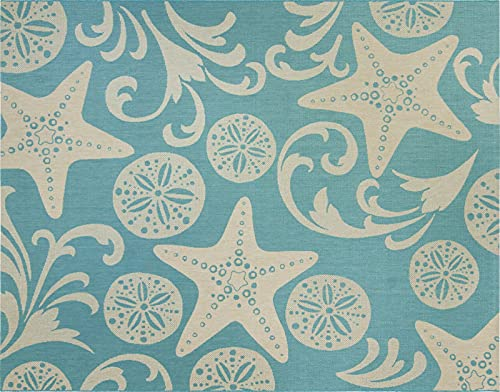 Gertmenian 22300 Outdoor Rug Freedom Collection Coastal Themed Smart Care Deck Patio Carpet, 5x7 Standard, Party Starfish Sand Dollar Oasis Green Sand