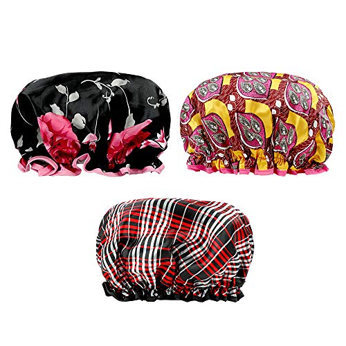KissDate 3 Packs Double Layer Satin Shower Cap, Waterproof Reusable Elastic Bath Cap for Women Long Hair Shower Spa Salon Accessories