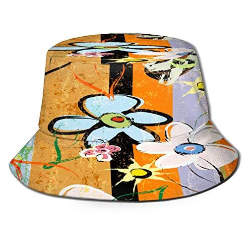 huagu Sombrero Pescador Unisex,Composición de Fondo Abstracto con Trazos de Pintura,Salpicaduras y,Plegable Sombrero de Pesca Aire Libre Sombrero Bucket Hat para Excursionismo Cámping De Viaje Pescar