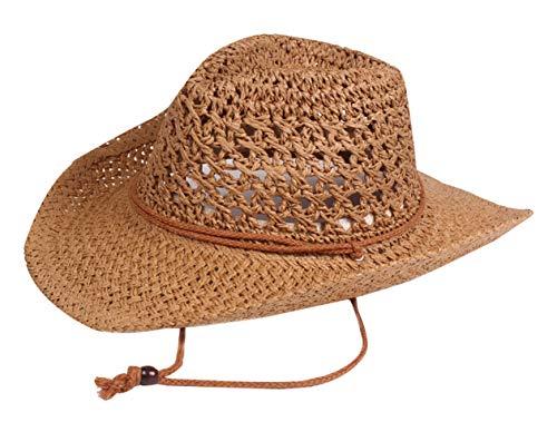 AIEOE - Sombrero Paja Mujer Hombre ala Ancha Vintage Traje de Sombrero Vaquero de Sol para Verano Playa Gorra Jazz Cowboy Hedwear Hat