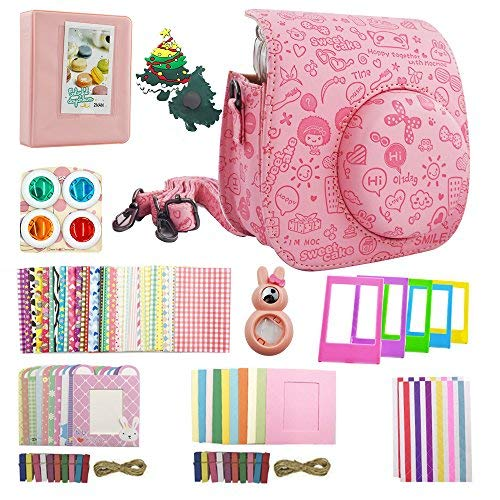 Nishow Camera Accessories for Fujifilm Instax Mini 7/8 or Mini 9 Include Camera Case/Album/Selfie Lens/Colored Filters/Wall Hang Frames/Film Frames/Border Stickers/Corner Stickers-Moc Pink …