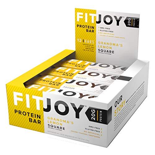FitJoy Protein Bar, Gluten Free, Low Sugar, High Protein Snack, Grandma's Lemon Square, Pack of 12 Bars