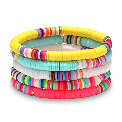 Boderier Heishi Bracelet Set Stack Rainbow Vinyl Disc Bead Surfer Stretch Bracelet Summer Beach Bracelet Jewelry (5)