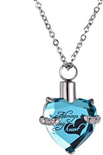Crystal Heart-Shaped Cremation Urn Necklace Jewelry Commemorative Ashes Necklace Stainless Steel Ashes Pendant Souvenir wi...