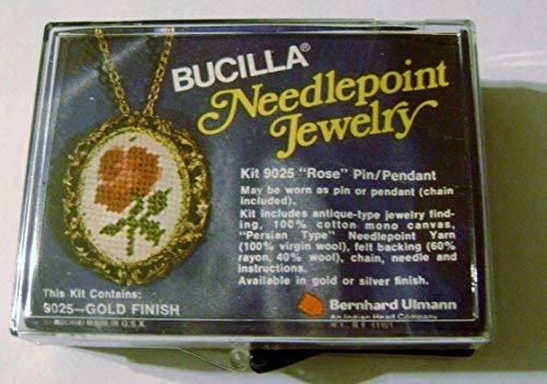 Vintage Bucilla Needlepoint Rose Pin/Pendant Kit