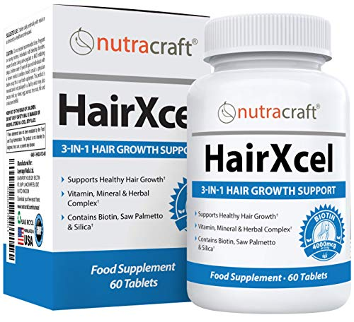 HairXcel #1 Hair Regrowth Supplement | 3-in-1 Remedy for Hair Loss Prevention and Growth in Men & Women | 60 Tablets