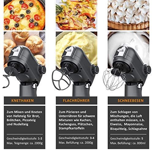 Arendo - leistungsstarke Küchenmaschine 5 Liter – Edelstahl Rührmaschine Knetmaschine – planetarisches Rührsystem - Edelstahlschüssel - inkl. 3 Rührwerkzeuge – 5 Schaltstufen - 1200 W - Cool Grey - 7