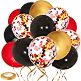 Zesliwy Red Black Gold Confetti Balloons, 60 Pack 12 inch Black Red Confetti and Gold Chrome Latex Balloons for Wedding Birthday Baby Shower Graduation Bachelorette Anniversary Party Decorations