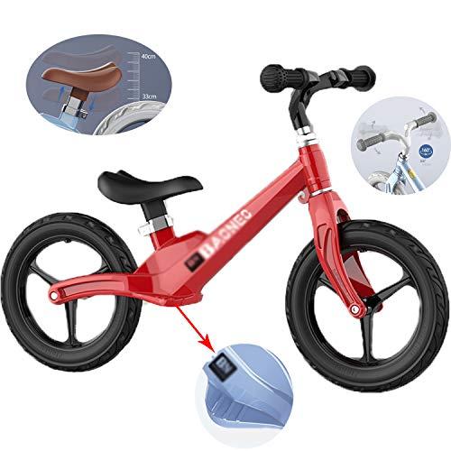 Qhxxtxjis Bicicletta Equilibrio Lega di Magnesio Telaio,Ultra Leggero, Senza Pedali Walking Bilanciamento della Moto Formazione della Bicicletta per Bambini E per più Piccoli 2-6 Anni,Viola,85 * 65cm