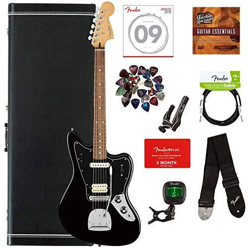 Fender Player Jaguar Pau Ferro Bundle with Hardshell Case, Tuner, Strap, Instrument Cable, Strings, Picks, Capo, Fender Play Trial, and Austin Bazaar Guitar Essentials DVD - Black