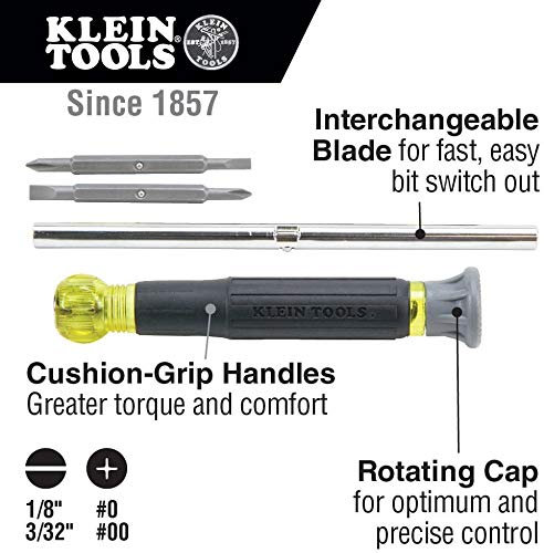 Klein Tools 32581 Precision Screwdriver Set, 4-in-1 Electronics Screwdriver with Industrial Strength Phillips and Slotted Bits, 1 Pack
