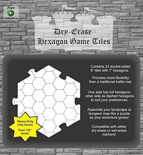 Azulejos hexagonales de borrado en seco, paquete de 33 azulejos de 6 pulgadas