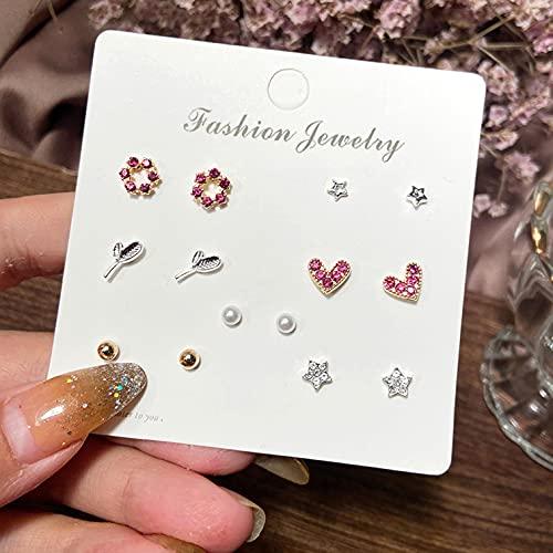 FEARRIN Pendientes Vintage Bohemain Acrílico Mariposa Estrella Luna Pendientes para Mujer Pendientes de Perlas de Cristal Redondos geométricos Conjunto de Joyas H220-813-03
