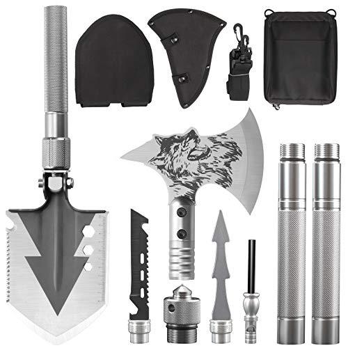 KEPEAK Camping Shovel Axe Set, Folding Survival Multi Tool for Backpacking, Hiking, Entrenching Tool, Car Emergency
