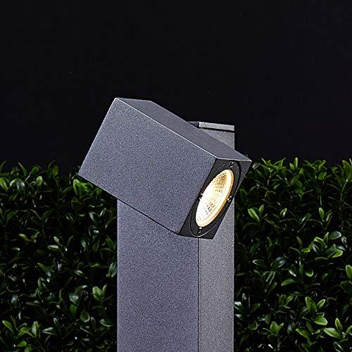 Lucande LED Außenleuchte 'Lorik' (spritzwassergeschützt) (Modern) in Schwarz aus Aluminium (1 flammig, A+, inkl. Leuchtmittel) - Wegeleuchte, Pollerleuchte, Wegelampe, Sockelleuchte