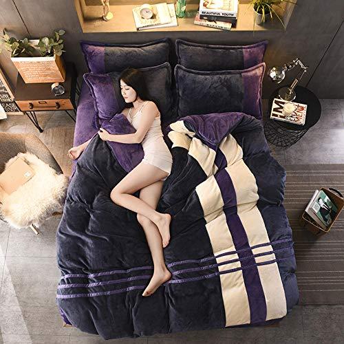 set copripiumino matrimoniali completo 260x240-Copripiumino caldo bifacciale spessa invernale letto singolo copriletto singolo Biancheria da letto natalizia per hotel-V_Fogli da 2,0 m (4 pezzi)