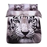 Sandyshow 3pcs Tiger Microfiber Duvet Cover Sets 3D Tiger Bedding Full/Queen Size for Boys and Girls Wrinkle, Fade, Stain Resistant,Hypoallergenic (Full/Queen, Tiger 3)