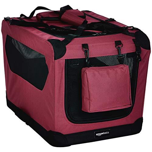 Amazon Basics - Trasportino morbido pieghevole per animali domestici, alta qualità, 66 cm, Rosso