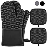 Jaweke Oven Mitts and Pot Holders 4Pcs Set, Extra Long 500℉ Heat Resistant Oven Gloves w...